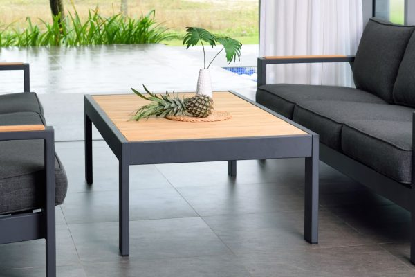 Home Design Ideas and Tips: luxury modern teak outdoor coffee table wood top with matte black base indoor outdoor patio furniture inspiration