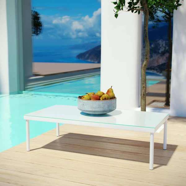 Home Design Ideas and Tips: minimalist white outdoor patio coffee table with glass top sleek poolside furniture
