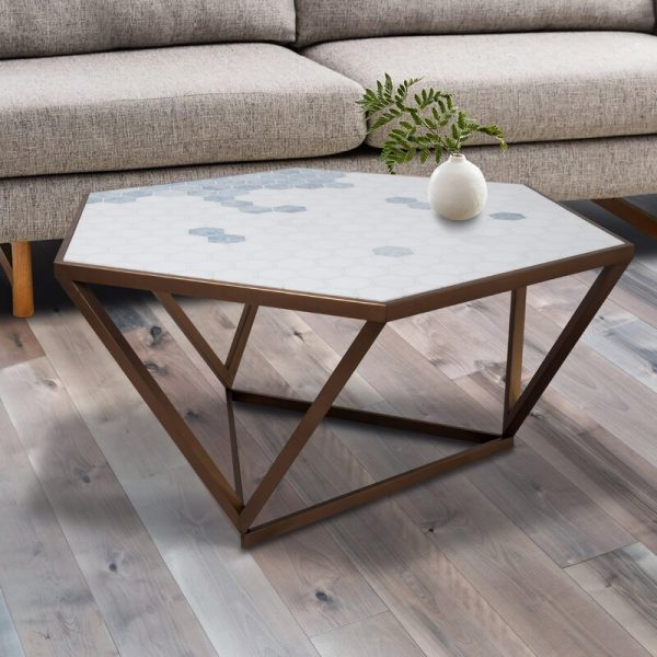 Home Design Ideas and Tips: mosaic outdoor coffee table with hexagonal top and geometric metal base unique artistic patio furniture for modern themes