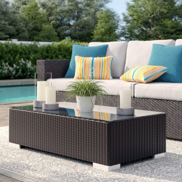 Home Design Ideas and Tips: outdoor wicker coffee table with modern look and glass top with metal legs