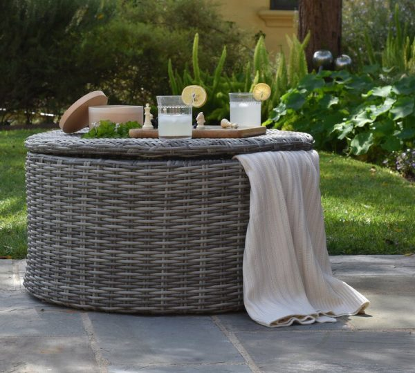 Home Design Ideas and Tips: outdoor wicker storage coffee table round shape faux wicker patio furniture multipurpose ideas