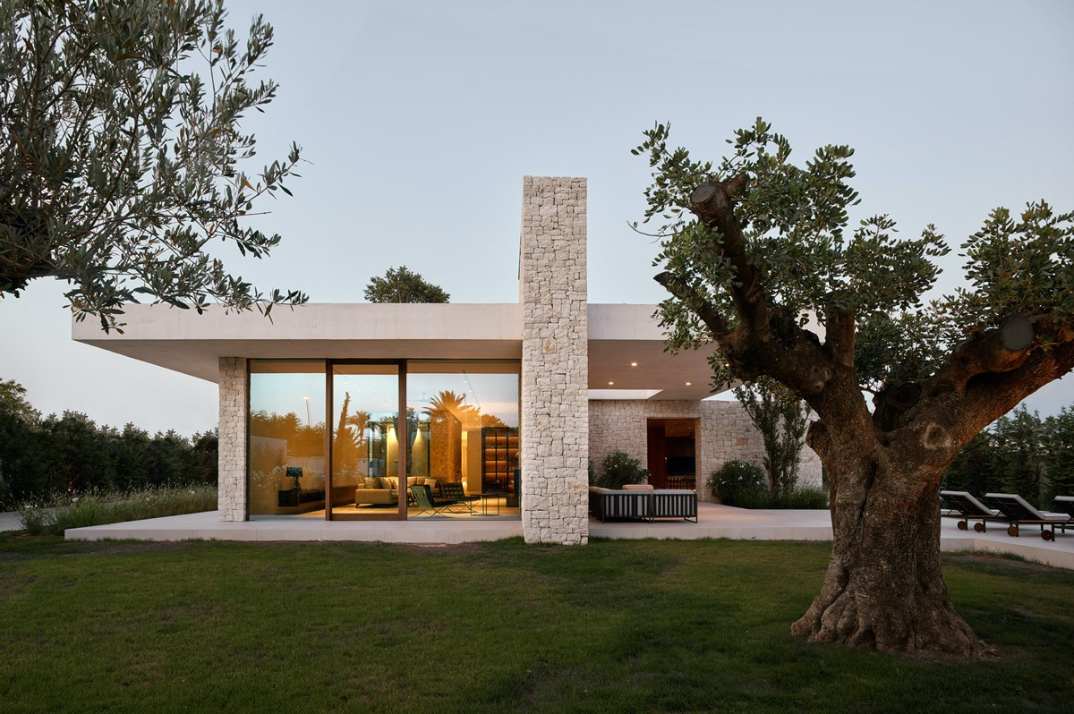stone and concrete house