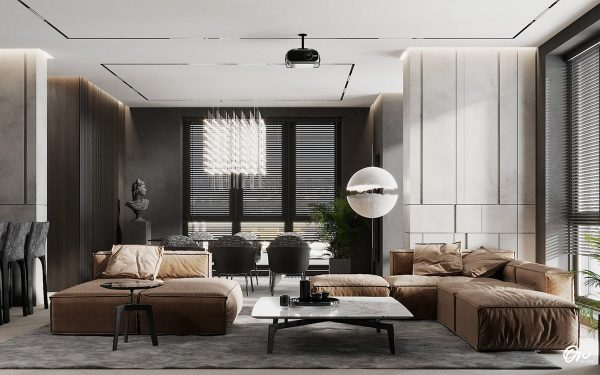 Darkly Decorated Open Plan Living Spaces