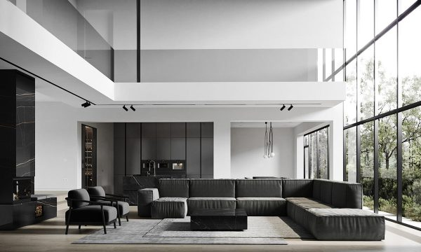 Luxury Home Interiors Set In Black And White Decor