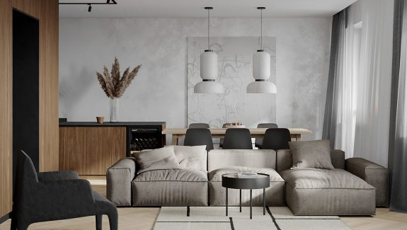 Classy Charcoal & Brown Apartment Interior Under 80 Sqm, With Layout