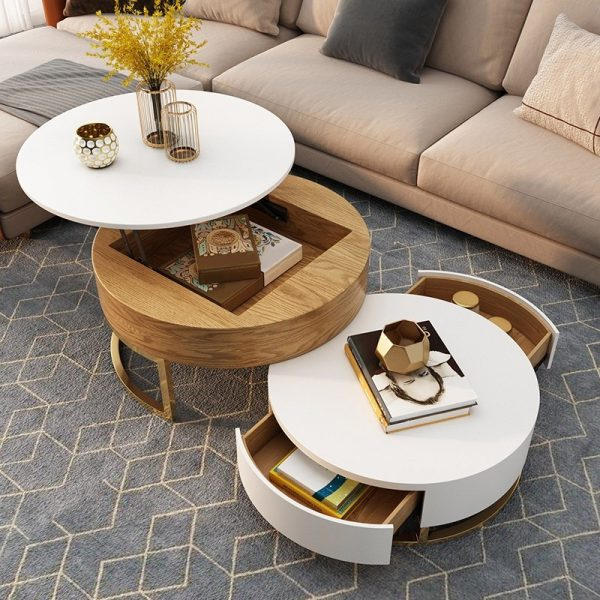 Furniture R 31.5 Inch Modern Round Marble Dining Table Coffee Table Muti-Function White for Kitchen Dining Room