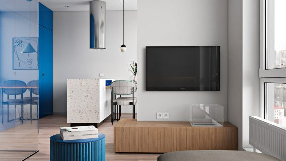 Cool & Clear Interiors With Blue Accents And Glass Walls