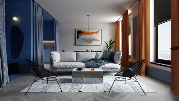 Playful Apartments With Orange And Blue Decor