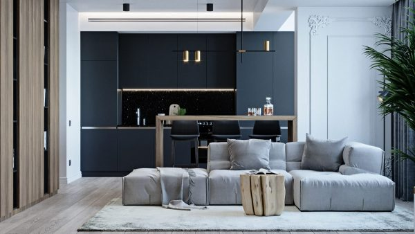 Suave 60 Sqm Home Designs With Black, Grey & Tonal Brown Decor