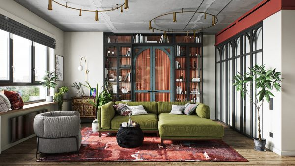 Lively Eclectic Red & Green Interior
