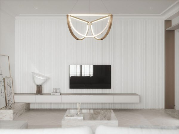 Light & Luxurious White Interior With Mirror, Metal & Marble Accents