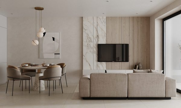 Clean-cut White Marble and Wood Accent Interiors