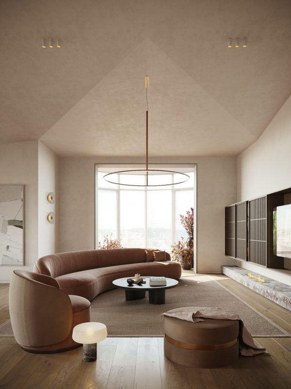 Textural Interior Smoothed By Curves & Classic Arches