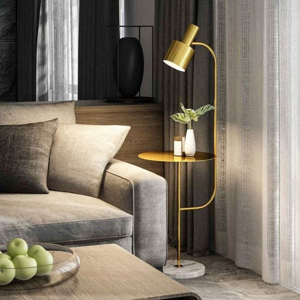 Product Of The Week: Modern Brass Floor Lamp With Side Table