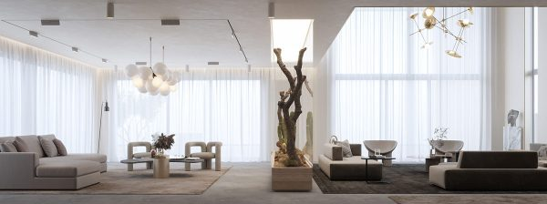 Interiors With Pockets Of Greenery And Modern Staircases