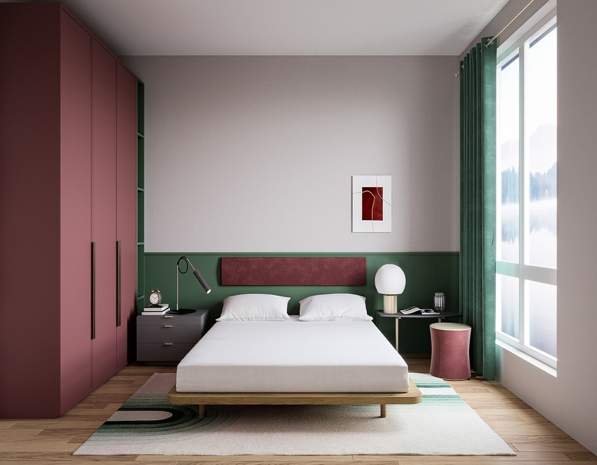 red and green bedroom