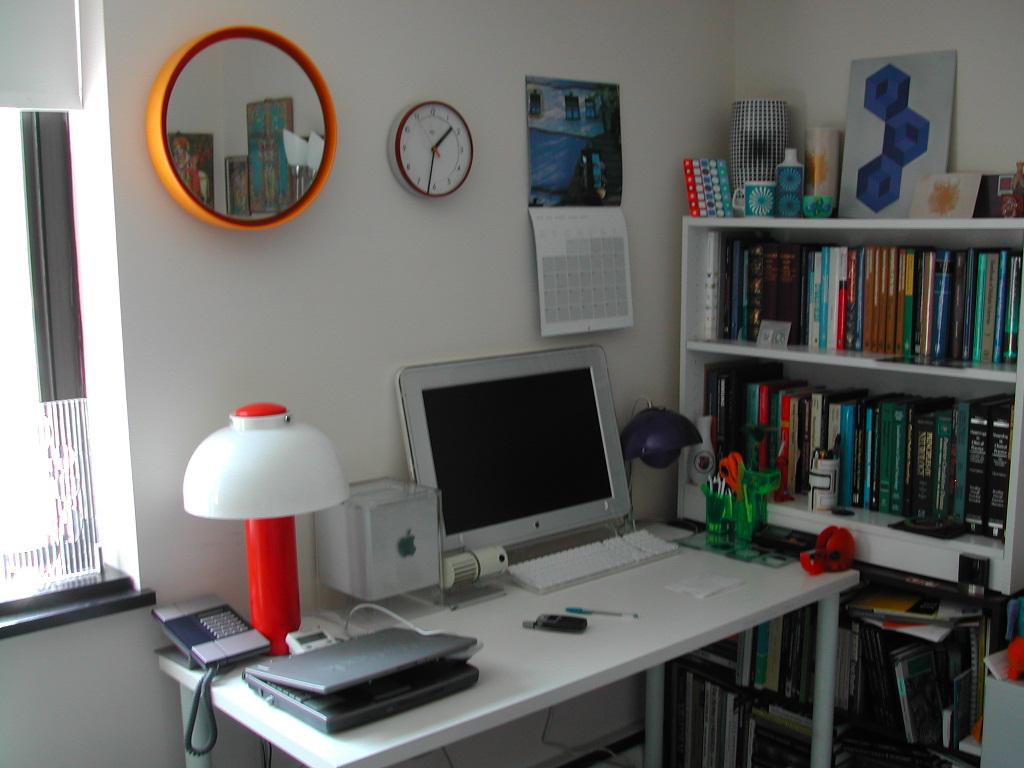 Office Shelves Behind Desk