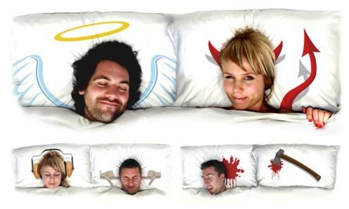 Engel und Teufel Kissen