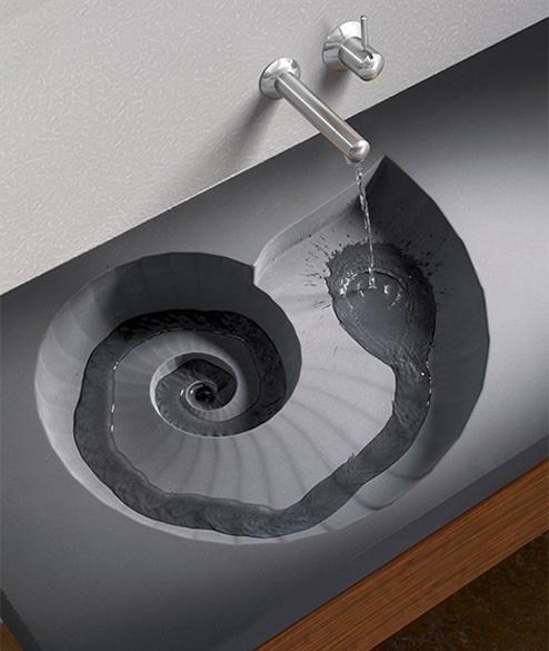 hightech-Waschbecken-Ammonit