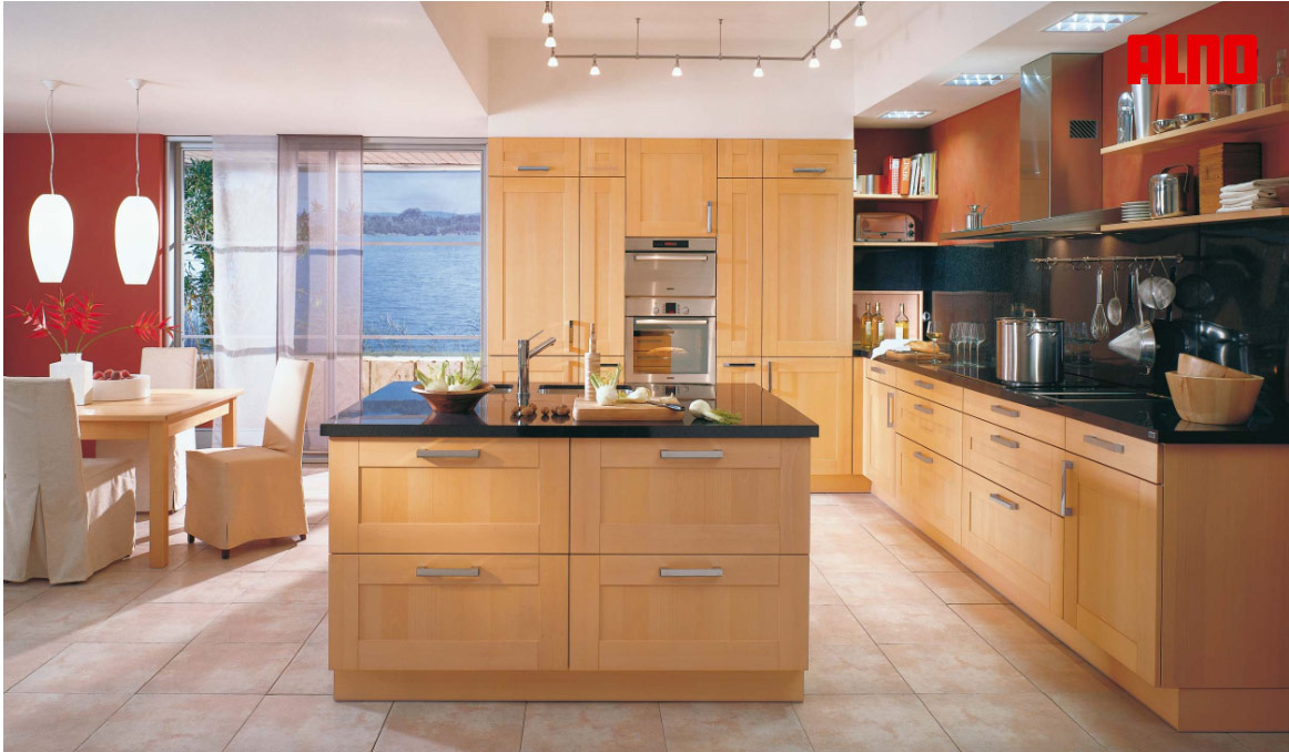 Open Kitchen Cabinets With Painted Inside