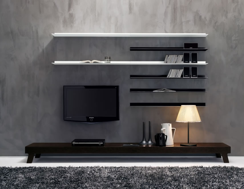 Modern wall units from momentoitalia - Interior design of living room with lcd tv ...