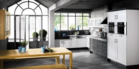 schwarz und weiß-Küche-Schränke