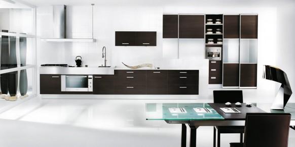 schwarz und weiß-Themen-Küche