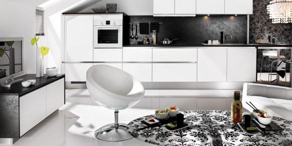 schwarz, weiß, Wohn-Küche