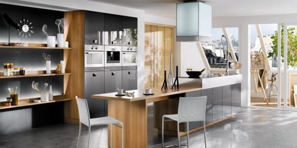 designer Küche in schwarz