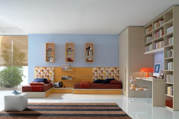 Kinder-Schlafzimmer mit zwei Einzelbetten