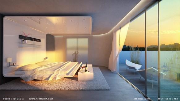 surreal-Schlafzimmer mit toller Aussicht