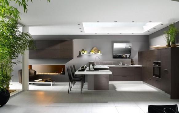 schwarze und weiße Küche Pflanzen