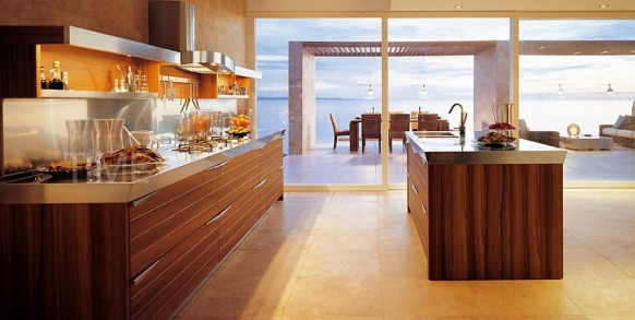 Braun-Wand-Küche