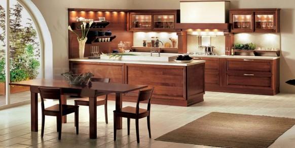 Braun-weiße Küche