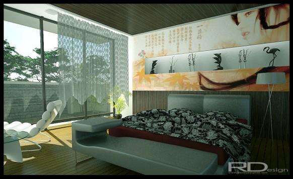 modernes Chinesisch Schlafzimmer