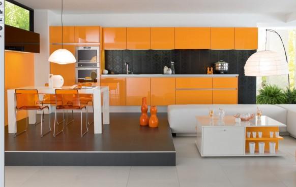 orange Küche