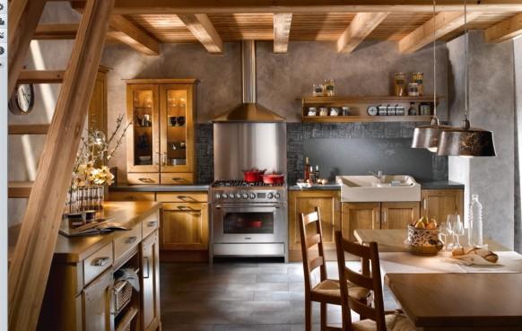traditionelle Küche abgenutzt Aussehen