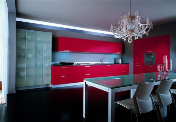 Дизайн красной кухни Дизайн.