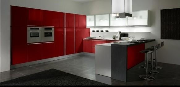 Кухни красного цвета фото.