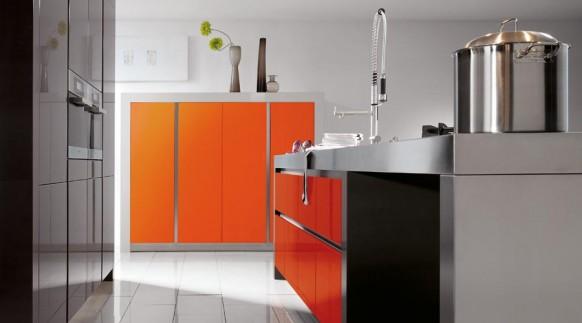 grifflos orange Küche