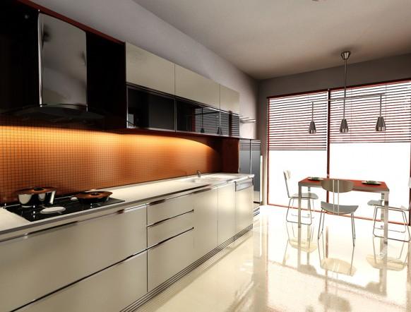 Küche orange weiß