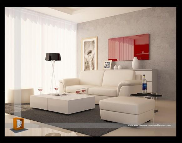 美妙的红白客厅