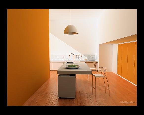 minimalistisch, orange Küche