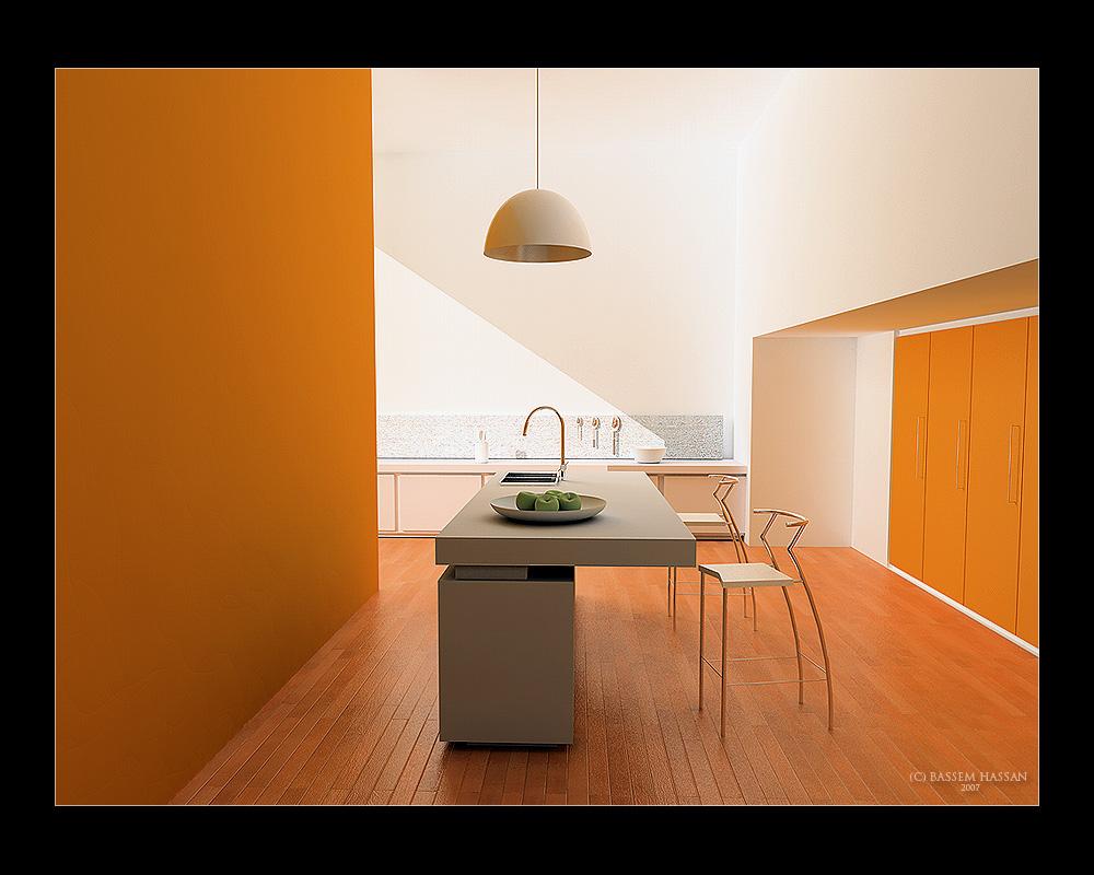 Minimalistic Orange Kitchen