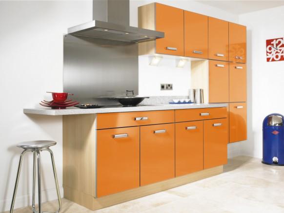 moderna Hochglanz orange Küche