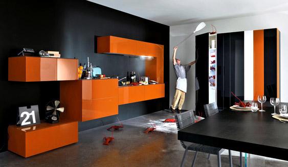 Modular Orange Kitchen