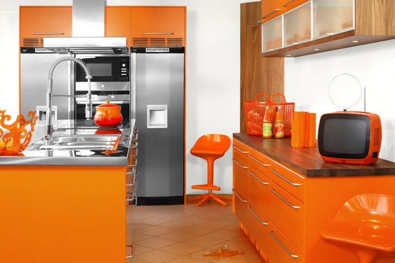 Modular Orange Kitchen Arrangement