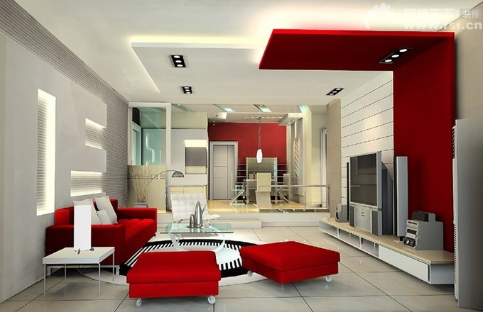 Wall Colour Inspiration: 28 Red And White Living Rooms