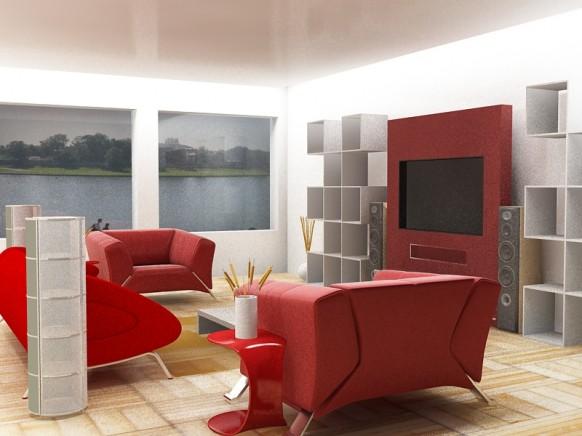 rot und weiß Wohnzimmer