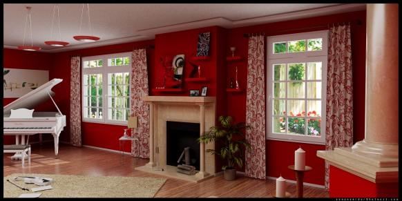 rot-Wohnzimmer